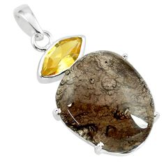 925 silver 17.53cts natural brown agni manitite yellow citrine pendant p70847