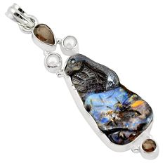 925 silver 28.30cts natural brown boulder opal carving pearl pendant p59274