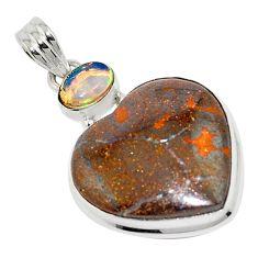 925 silver 22.02cts natural brown boulder opal ethiopian opal pendant p76248