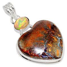 925 silver 25.60cts natural brown boulder opal ethiopian opal pendant p76263