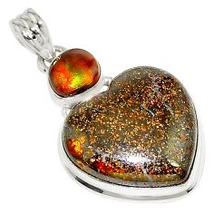 925 silver 26.16cts natural brown boulder opal mexican fire agate pendant p76270