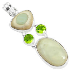 925 silver 22.57cts natural brown imperial jasper peridot round pendant p34050
