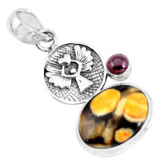 925 silver 13.09cts natural brown peanut petrified wood fossil pendant p55052