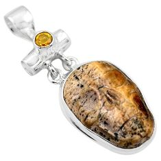 925 silver 18.15cts natural brown picture jasper citrine skull pendant p84498