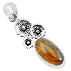 925 silver 11.84cts natural brown pietersite (african) flower pendant p55369
