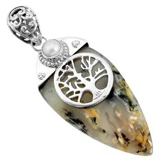 925 silver 33.54cts natural brown plum wood jasper tree of life pendant p34214
