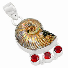 925 silver 23.15cts natural brown russian jurassic opal ammonite pendant p64717