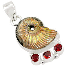 925 silver 21.72cts natural brown russian jurassic opal ammonite pendant p64720