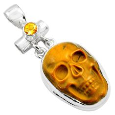925 silver 19.72cts natural brown tiger's eye citrine skull pendant p84466
