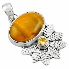 925 silver 13.27cts natural brown tiger's eye oval deltoid leaf pendant p84673