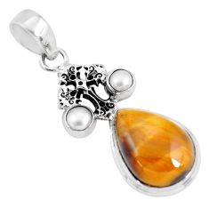 925 silver 14.21cts natural brown tiger's eye pearl holy cross pendant p56864