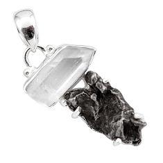 925 silver 14.62cts natural campo del cielo (meteorite) fancy pendant p87189