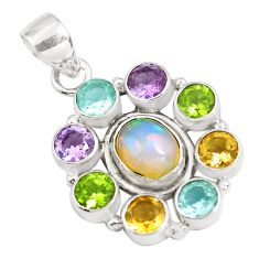 925 silver 9.72cts natural ethiopian opal amethyst pendant p77989