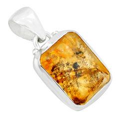 925 silver 9.65cts natural faceted dendritic quartz octagan shape pendant p75912