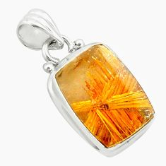 925 silver 12.34cts natural golden half star rutile octagan pendant p75992