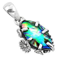 925 silver 5.08cts natural green abalone paua seashell flower pendant p41888