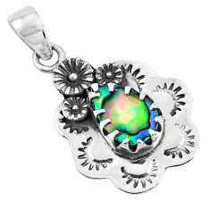 925 silver 3.62cts natural green abalone paua seashell flower pendant p41954