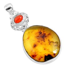 925 silver 21.48cts natural green amber from colombia cornelian pendant p46864