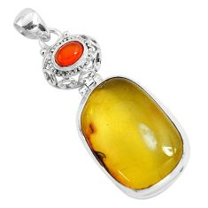 925 silver 20.88cts natural green amber from colombia cornelian pendant p46868