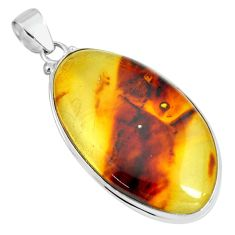 925 silver 20.33cts natural green amber from colombia fancy pendant p66087