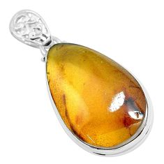 925 silver 19.72cts natural green amber from colombia pear shape pendant p46873