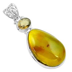 925 silver 20.86cts natural green amber from colombia smoky topaz pendant p66111