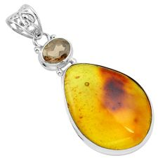 925 silver 19.82cts natural green amber from colombia smoky topaz pendant p66115