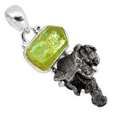 925 silver 20.57cts natural green apatite rough campo del cielo pendant p87171