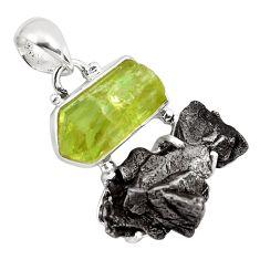 925 silver 20.57cts natural green apatite rough campo del cielo pendant p87177