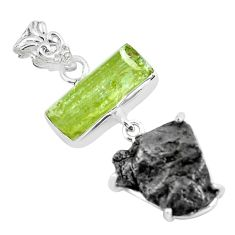 925 silver 19.29cts natural green apatite rough meteorite gibeon pendant d31980