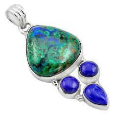 925 silver 24.00cts natural green azurite malachite lapis lazuli pendant p84530