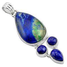 925 silver 24.38cts natural green azurite malachite lapis lazuli pendant p84545