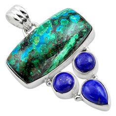 925 silver 25.00cts natural green azurite malachite lapis lazuli pendant p84550