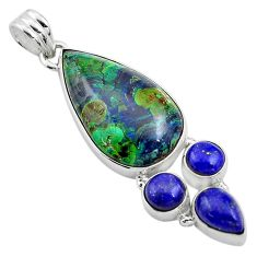 925 silver 22.96cts natural green azurite malachite lapis lazuli pendant p84567