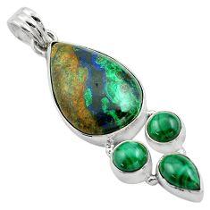 925 silver 19.72cts natural green azurite malachite malachite pendant p84541