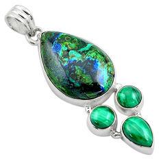925 silver 20.65cts natural green azurite malachite malachite pendant p84577