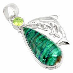 925 silver 18.63cts natural green azurite malachite pear dolphin pendant p79364