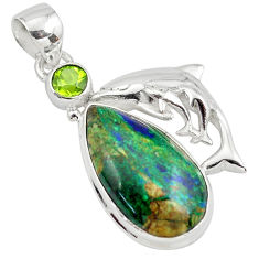 925 silver 16.92cts natural green azurite malachite peridot fish pendant p79338