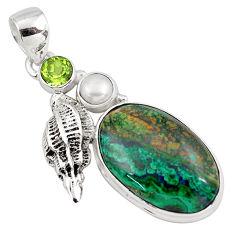 925 silver 17.36cts natural green azurite malachite peridot pendant p79330