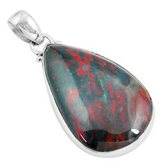925 silver 21.48cts natural green bloodstone african (heliotrope) pendant d31704
