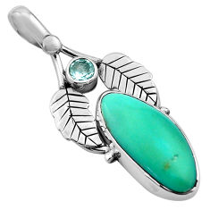 925 silver 10.65cts natural green campitos turquoise deltoid leaf pendant p84708