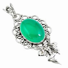 925 silver 13.77cts natural green chalcedony angel wings fairy pendant p59764