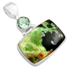 925 silver 14.23cts natural green chrome chalcedony amethyst pendant p85478