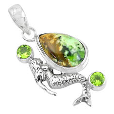 925 silver 14.12cts natural green chrome chalcedony fairy mermaid pendant p55303
