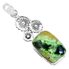 925 silver 16.92cts natural green chrome chalcedony flower pendant p55297