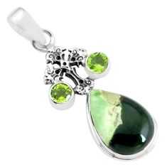 925 silver 11.66cts natural green chrome chalcedony holy cross pendant p55355