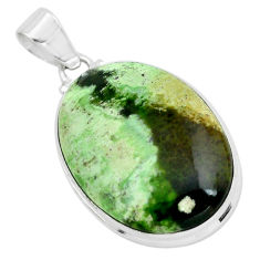 925 silver 23.11cts natural green chrome chalcedony oval shape pendant p66127
