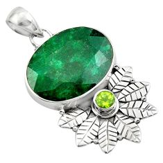 925 silver 15.97cts natural green emerald peridot deltoid leaf pendant p84667
