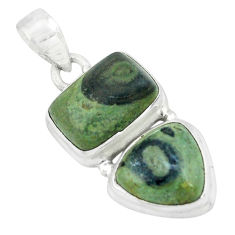 925 silver 10.00cts natural green kambaba jasper (stromatolites) pendant p67456