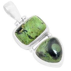925 silver 14.12cts natural green kambaba jasper (stromatolites) pendant p70484